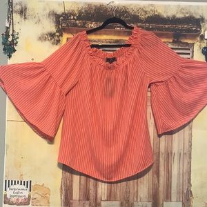 Coral flared sleeves blouse
